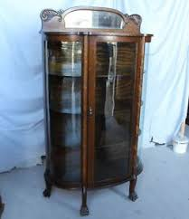 curved glass china cabinet antique oak curved glass china cabinet original finish ebay