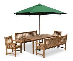 6 Seater Patio Furniture Set - cambridge garden bench set 1 5m teak bench and table set jati