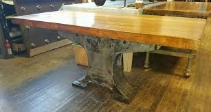Industrial Table L Awesome Industrial Table Island Cast Iron Base Maple Butcher