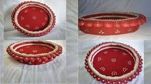Home Decoration Ideas For Diwali How To Make Decorated Thali At Home Diy Diwali Decoration Ideas
