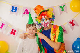 two cheerful clowns birthday children bright stock photo clown boy at the birthday of a child party for children clowns and