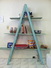 pretty light blue rustic ladder shelf for unique kitchen pantry