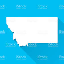 Billings Montana Map by Montana Map On Blue Background Long Shadow Flat Design Stock