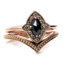 art deco rose gold engagement ring set marquise rose cut black
