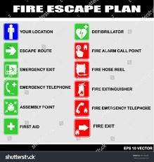 Fire Evacuation Route Plan by Set Symbols Fire Escape Evacuation Plans Stock Vector 491556235