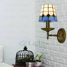 Mediterranean Wall Sconces Style Blue And White Glass Tiffany Wall Sconces