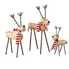 s 3 asst wood deer figurines 2272270ec the home depot