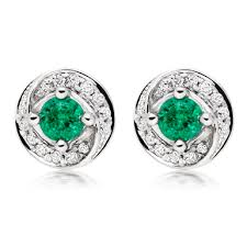 emerald earrings uk 9ct white gold diamond emerald stud earrings 0008876
