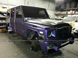 matte purple jeep mercedes benz g55 wald black bison wrapped in purple metallic