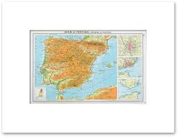 Map Of Spain And Portugal by Countries Europe Vintage Maps