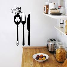 vinyl mural cuisine stickers flower cutlery cuisine vinyl wall sticker decals