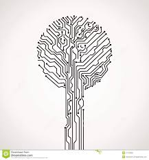 abstract electronic tree stock vector illustration of communication