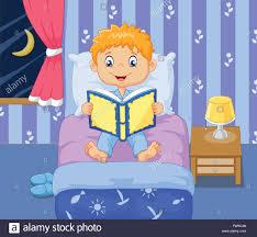 Bedroom Cartoon Cartoon Little Boy Reading Bed Time Story Stock Vector Art