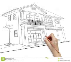 House Drawing by Hand Drawing House On Screen Royalty Free Stock Image Image