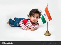 Baby Flag Cute Baby Boy On White Background With Indian Flag Or Tricolour