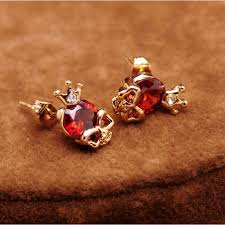 king skull gem ear studs