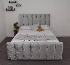 Crushed Velvet Fabric Upholstery Beautiful Silver Double 4ft6 Crushed Velvet Fabric Upholstered