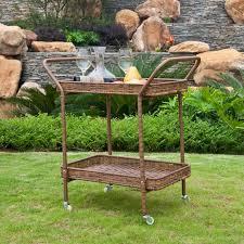 Patio Serving Table Jeco Outdoor Wicker Patio Furniture Serving Cart Hayneedle