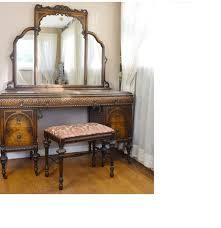 vintage jacobean revival style walnut dressing table with bench ebth
