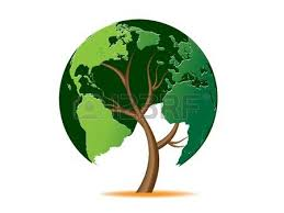 environmental concept tree forming the world globe royalty free