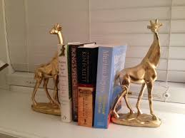 astonishing creative bookends metal material gold color giraffe