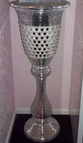 Large Mosaic Vase Large Silver Mosaic Vase Mirror Glitter Sparkle Glass Urn Planter