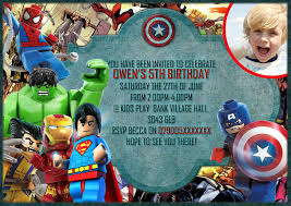 personalise super lego hero party invitationsthank you cards