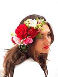 hair wreath roses crown pink hair wreath custom flower headband