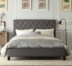 chester double queen king size grey white charcoal fabric bed