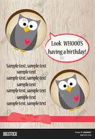 cute owl birthday card vector u0026 photo bigstock