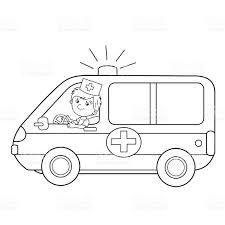 coloring page outline of cartoon doctor with ambulance car stock