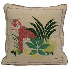 vintage deco tiger cat needlepoint accent pillow 1990s for