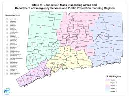 Connecticut State Map by Dph Mass Dispensing Vaccination Areas