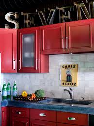 Red Backsplash Kitchen Cabinets U0026 Drawer Great Ideas For Remodeling Red Cabinets With