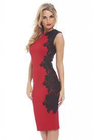 crochet lace side midi red dress party dresses ax paris usa