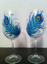 cool peacock painted wine glasses painting anything on wine
