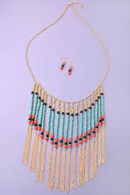 boho necklace set images Boho bead tassel necklace jewelry set jpg