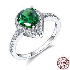 sted rings waterdrop shape design 7 9mm emerald color trendy rings for