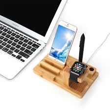 bamboo display stand u0026 charging holder apple watch iphone