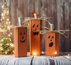 Diy Halloween Ornaments Amazon Com Reclaimed Wood Pumpkins Set Of Three Rustic