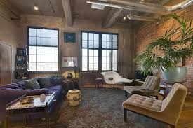 inspiring loft furniture ideas feat tufted sofa also brick walls