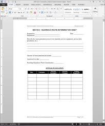 cfo report template hazardous waste determination worksheet template