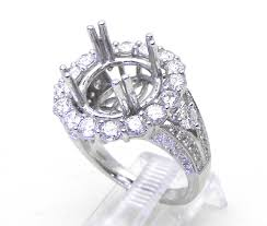 semi mount engagement rings 18k white gold 2 43 cts halo semi mount engagement