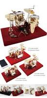 golden miniature drum set metal crafts ornament for kids miniature