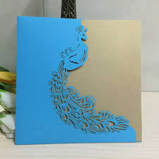 Laser Cut Invitation Cards 2015 New Blue Hollow Peacock E1 Laser Cut Wedding Invitation Cards