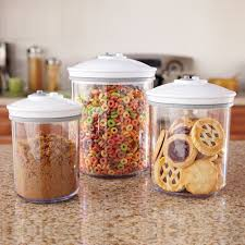 amazon com foodsaver 3 piece round bpa free canister set food