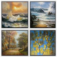 aliexpress com buy handpainted scenery sea wave oil painting on