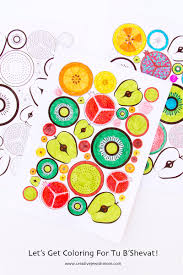 tu b u0027shevat craft fruit slice coloring pages colored jewish