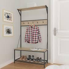 amazon com weathered oak metal entryway shoe bench with coat rack