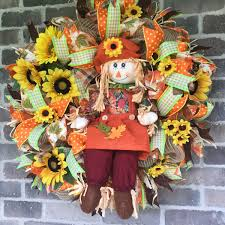 fall door wreath sunflower wreath scarecrow wreath for